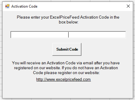 Excel Price Feed Enter Activation Code