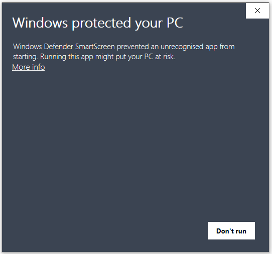 Windows Smartscreen warning