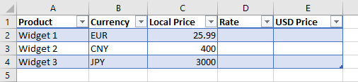 Excel exchange rate example