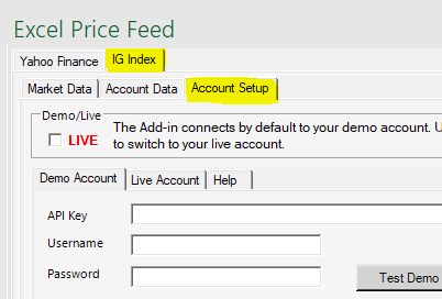 Excel Price Feed IG Index Account Setup tab