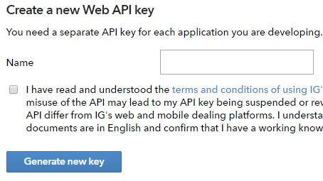 IG Index Demo Account Web API Key