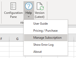 Manage Excel Price Feed subscription menu option