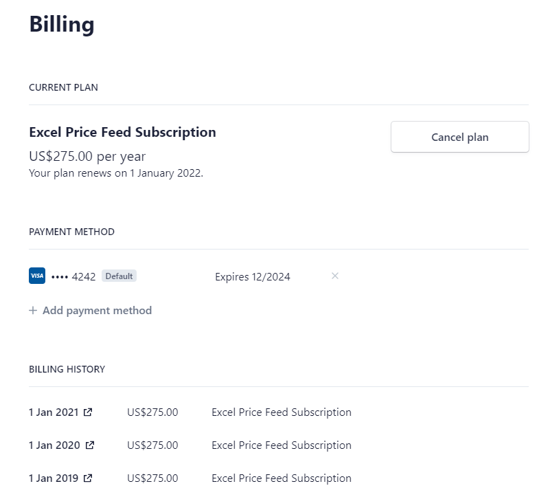 Excel Price Feed subscription dashboard