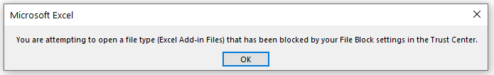 Excel add-in file type blocked by trust center