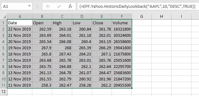 Excel array formula OHLC-V for Apple stock